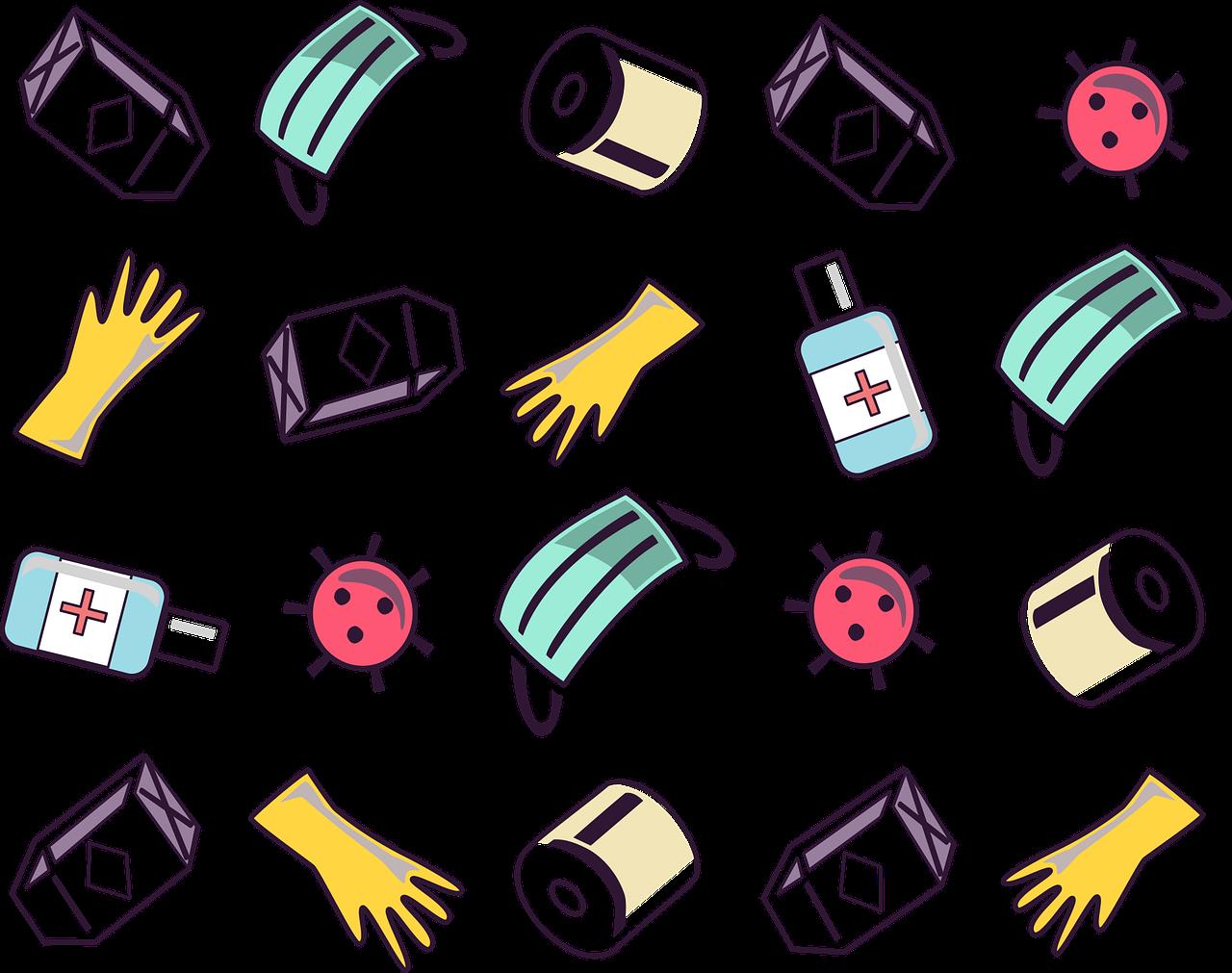 ikonok higiénés tárgyakkal